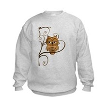 Brown Swirly Tree Owl Sweatshirt
