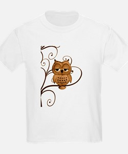 Brown Swirly Tree Owl T-Shirt
