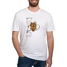 Brown Swirly Tree Owl Shirt