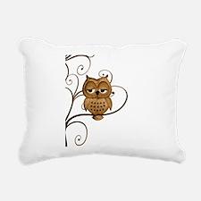Brown Swirly Tree Owl Rectangular Canvas Pillow