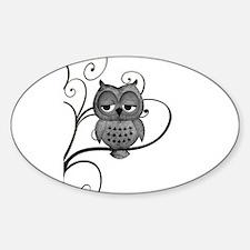 Black White Swirly Tree Owl Stickers