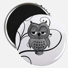 "Black White Swirly Tree Owl 2.25"" Magnet (10 pack)"