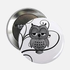 "Black White Swirly Tree Owl 2.25"" Button (100 pack"