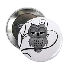 "Black White Swirly Tree Owl 2.25"" Button (10 pack)"