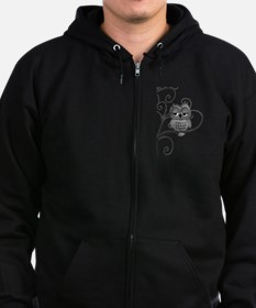 Black White Swirly Tree Owl Zip Hoodie