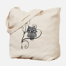 Black White Swirly Tree Owl Tote Bag
