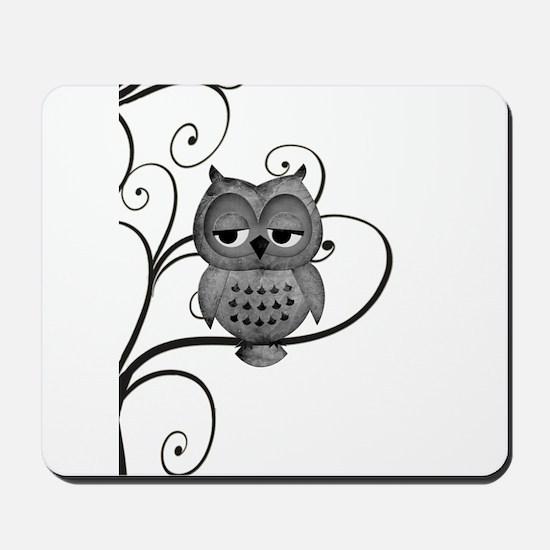 Black White Swirly Tree Owl Mousepad