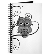 Black White Swirly Tree Owl Journal
