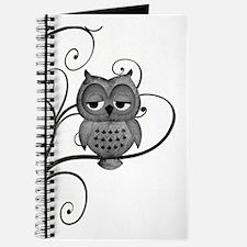 Black White Swirly Tree Owl Journal