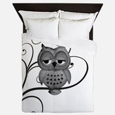 Black White Swirly Tree Owl Queen Duvet