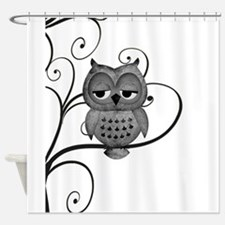 Black White Swirly Tree Owl Shower Curtain
