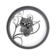 Black White Swirly Tree Owl Wall Clock
