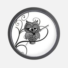 Black White Swirly Tree Owl Wall Clock