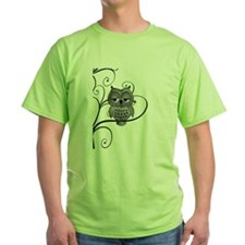 Black White Swirly Tree Owl T-Shirt