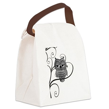 Black White Swirly Tree Owl Canvas Lunch Bag