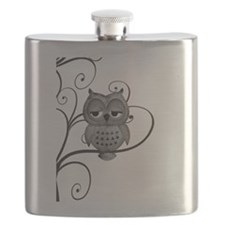 Black White Swirly Tree Owl Flask