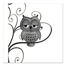 "Black White Swirly Tree Owl Square Car Magnet 3"" x"