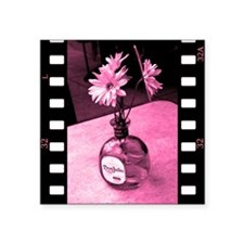 "three flowers and a bottle Square Sticker 3"" x 3"""
