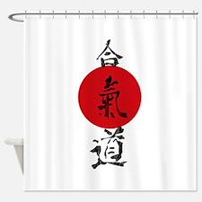 Aikido Grunge Kanji Shower Curtain