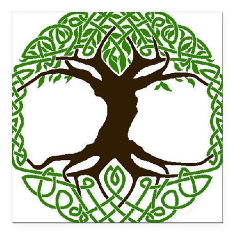 """colored tree of life Square Car Magnet 3"""" x 3"""""""