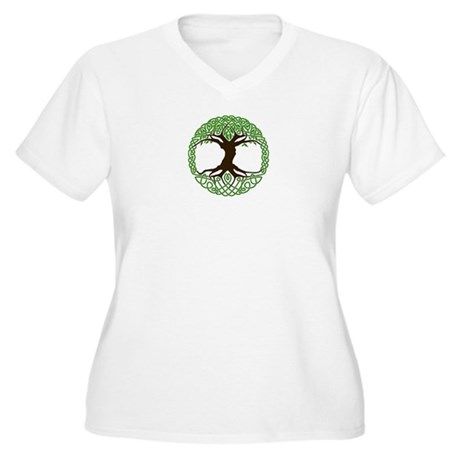colored tree of life Women's Plus Size V-Neck T-Sh