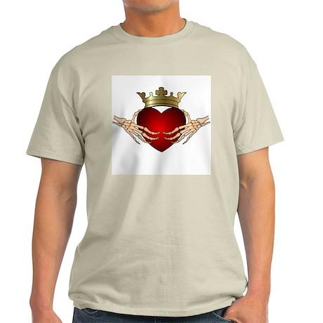 Skeleton Claddagh Ash Grey T-Shirt