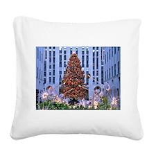 Rock Center Christmas Square Canvas Pillow