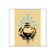 """Laughing Buddha with Coffee Square Sticker 3"""" x 3"""""""