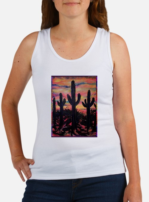 Desert, southwest art! Saguaro cactus! Women's Tan