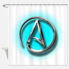 Atheist Logo (Aqua) Shower Curtain