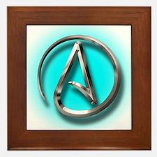 Atheist Logo (Aqua) Framed Tile