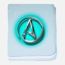Atheist Logo (Aqua) baby blanket