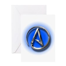 Atheist Logo (blue) Greeting Card