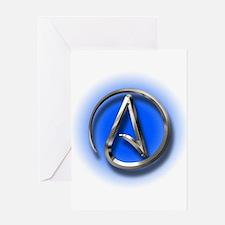 Atheist Logo (blue) Greeting Card