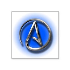"Atheist Logo (blue) Square Sticker 3"" x 3"""