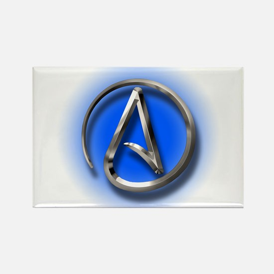Atheist Logo (blue) Rectangle Magnet