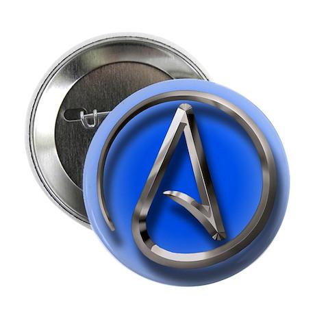 """Atheist Logo (blue) 2.25"""" Button"""