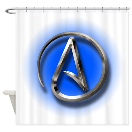 Atheist Logo (blue) Shower Curtain