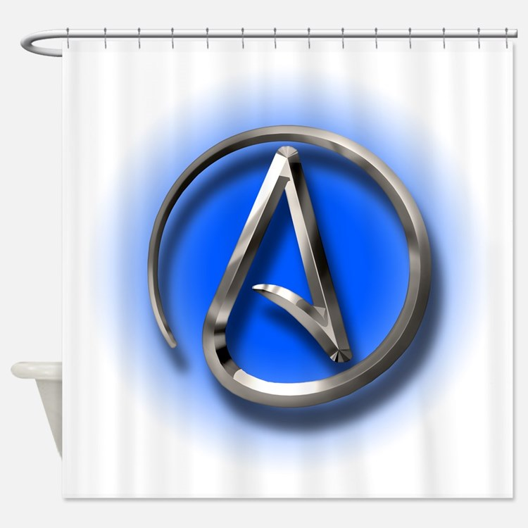 Atheist Logo (blue) Shower Curtain