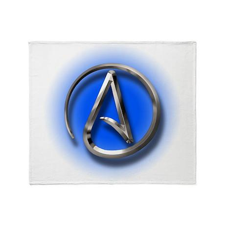 Atheist Logo (blue) Throw Blanket