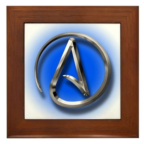 Atheist Logo (blue) Framed Tile