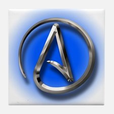 Atheist Logo (blue) Tile Coaster