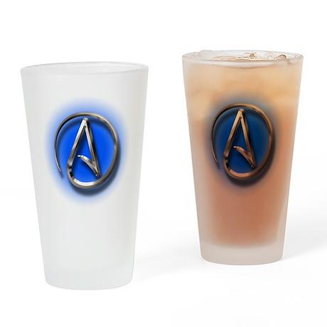 Atheist Logo (blue) Drinking Glass
