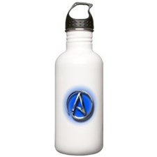 Atheist Logo (blue) Sports Water Bottle