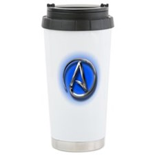 Atheist Logo (blue) Travel Mug