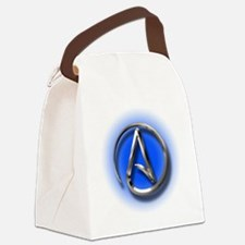 Atheist Logo (blue) Canvas Lunch Bag