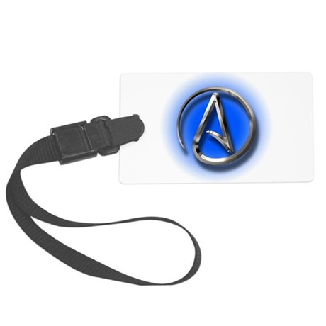 Atheist Logo (blue) Large Luggage Tag