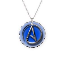 Atheist Logo (blue) Necklace