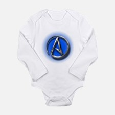 Atheist Logo (blue) Long Sleeve Infant Bodysuit