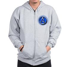 Atheist Logo (blue) Zip Hoodie